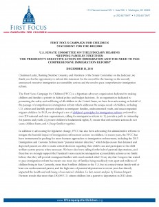 Keeping Families Together: The President's Executive Action on Immigration and the Need to Pass Comprehensive Immigration Reform