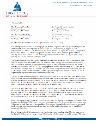 """Letter: Support for Repeal of the """"Cadillac Tax"""""""