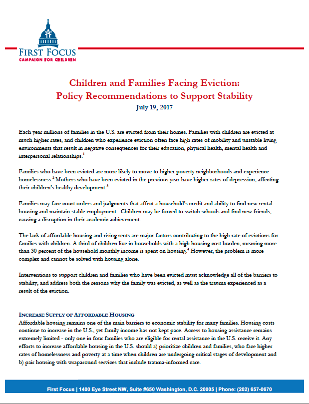 Policy Recommendations for Children and Families Facing Eviction